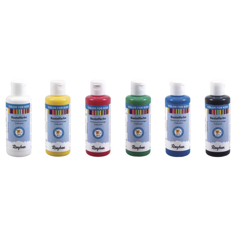 Set-Kinder-Bastelfarbe, 6 x 80ml, verschiedene Farben, Box 480ml