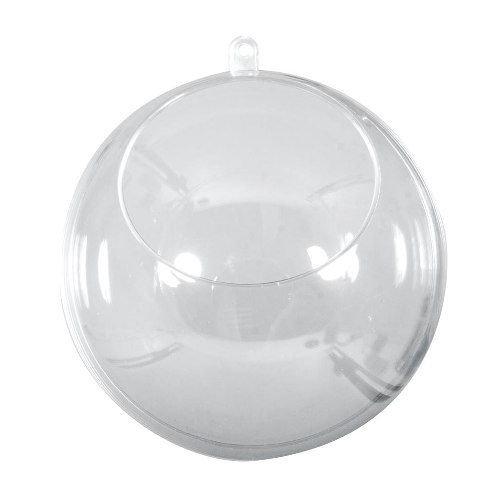 Plastik-Kugel, 2tlg., 8cm ø, mit Ausschnitt ø4,5cm, kristall