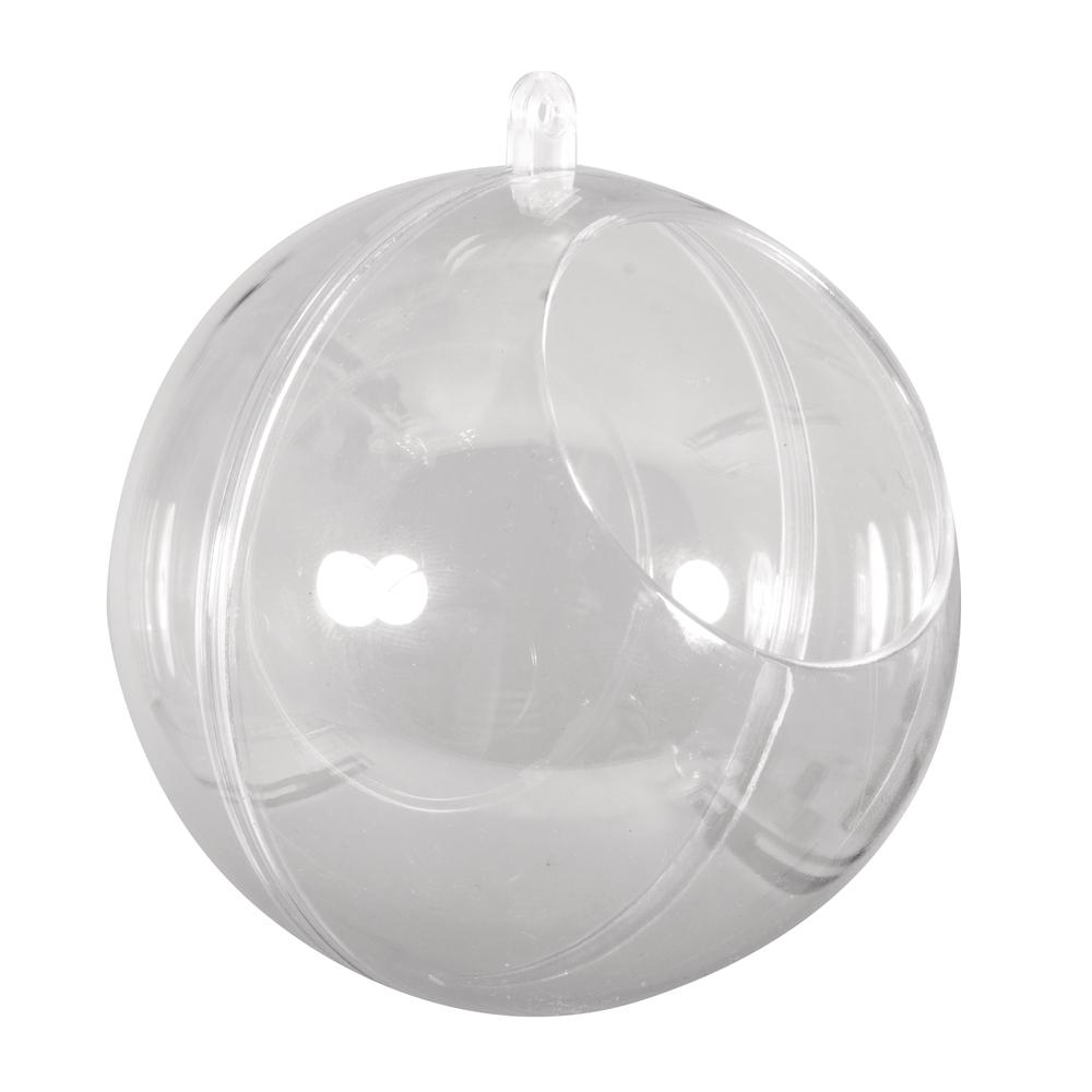 Plastik-Kugel, 2tlg., 10cm ø, mit Ausschnitt ø6cm, kristall