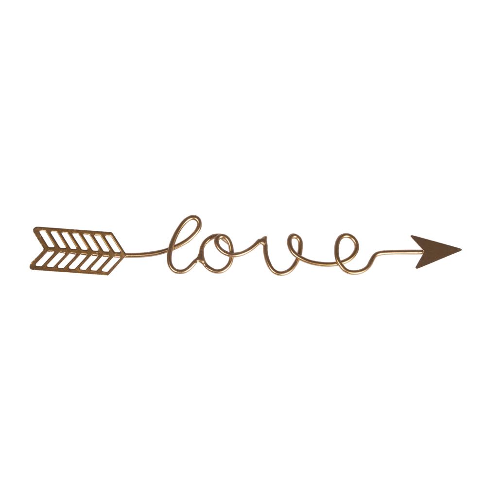 Metalldeko Schriftzug love, 24x3,2x0,2cm, gold