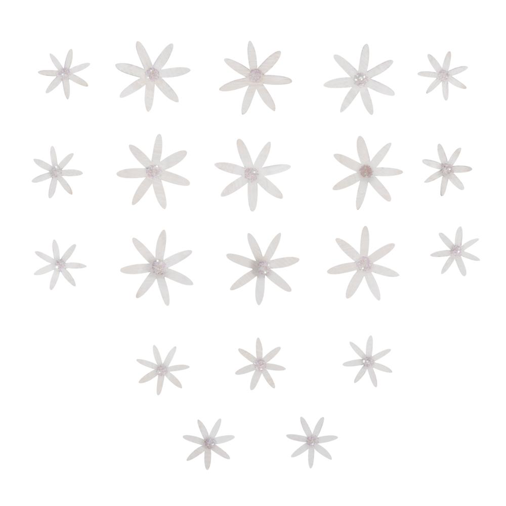 Holz Streuteile Blumen Daisy, sort. 2+3cm, SB-Btl 20Stück, weiß