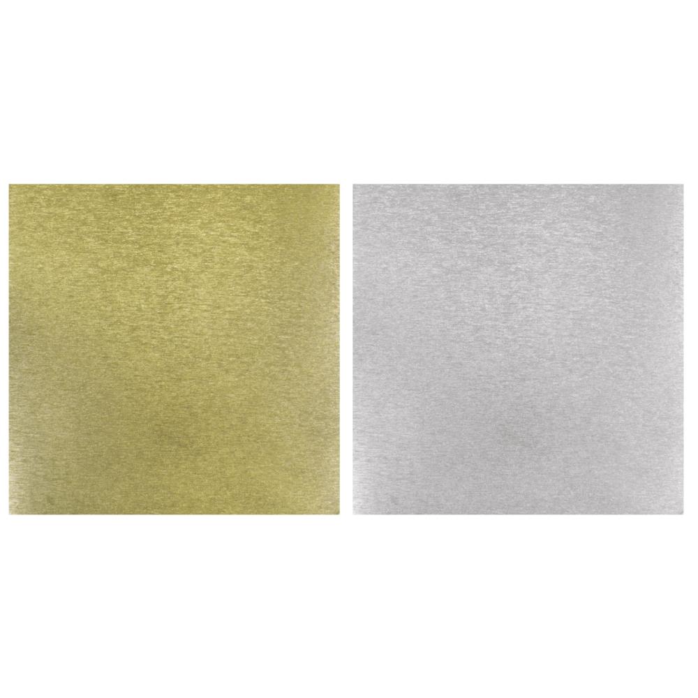 Scrap.-Papier Metalleffekt gebürstet, 30,5x30,5cm, 250g/m2, 2-seitig, silber/gold