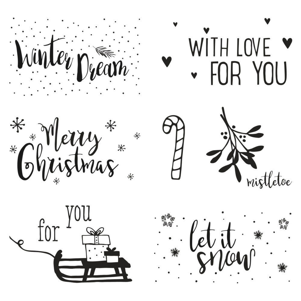 Clear Stamps - Christmas Greetings, 102,5x97mm, 7 Motive, SB-Btl. 1Bogen
