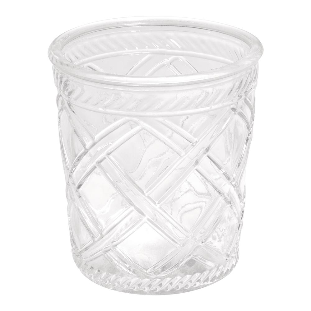 Glas Vase , 13,5cm ø, 15cm, Rauten Optik