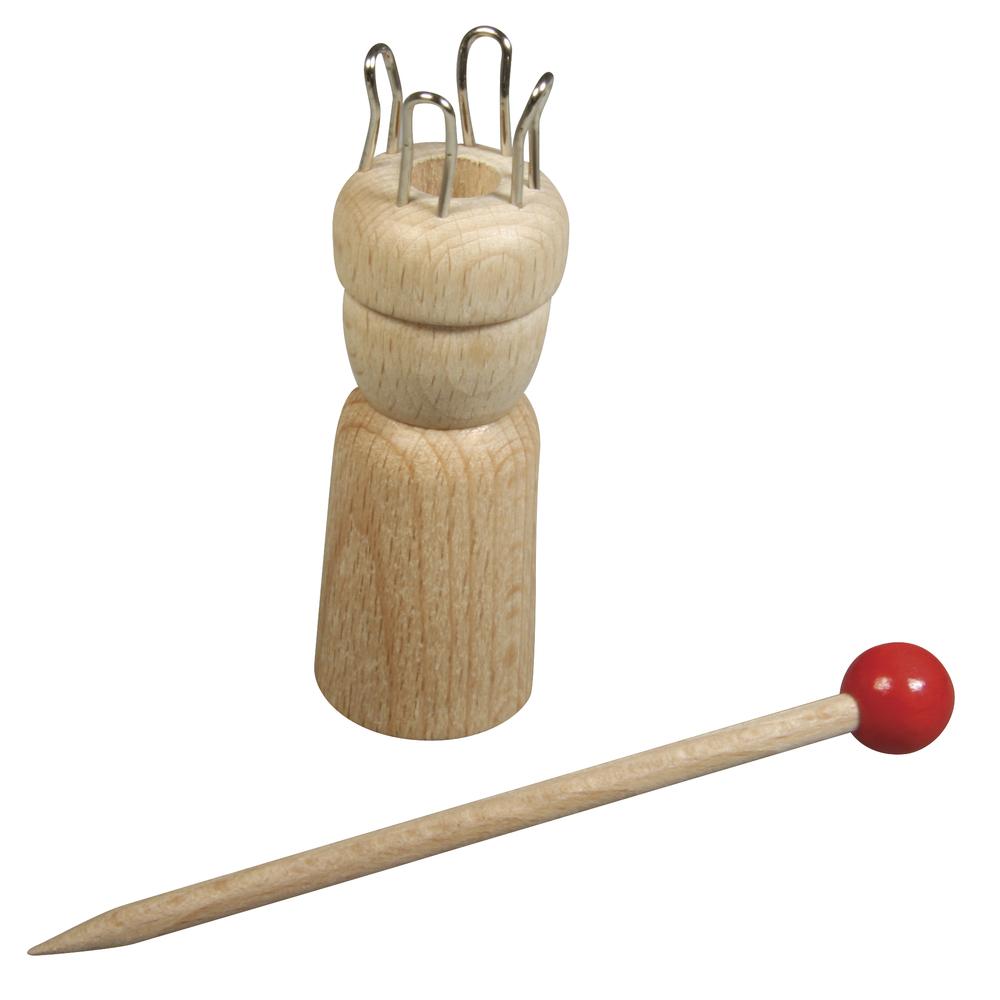 Strickliesel m.Nadel, FSC100%, 2,4cm ø, 7,5cm, 4 Ösen, ø-Loch:1cm, SB-Btl 1Set