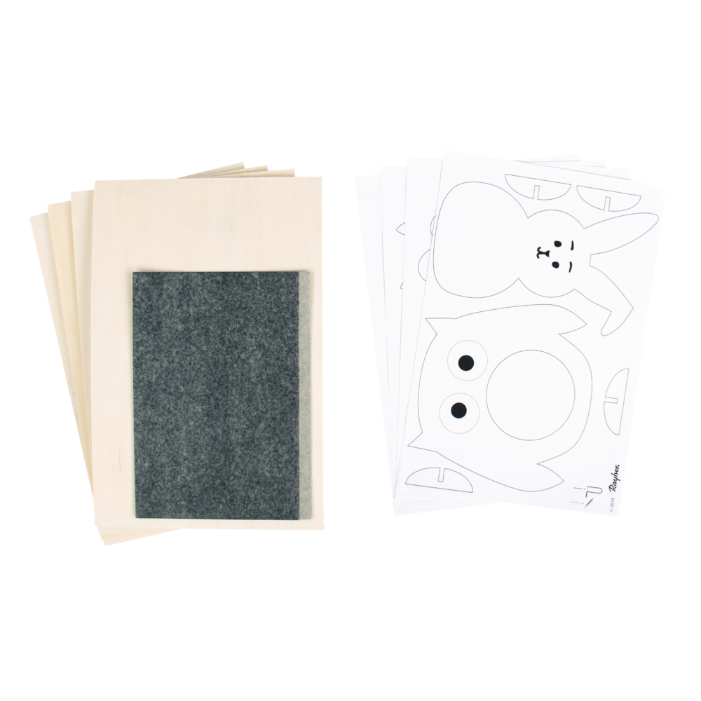 Sperrholzplatten mit Vorlagen- Tiere, 300x200x4mm, 4 Platten, Beutel 1Set, natur