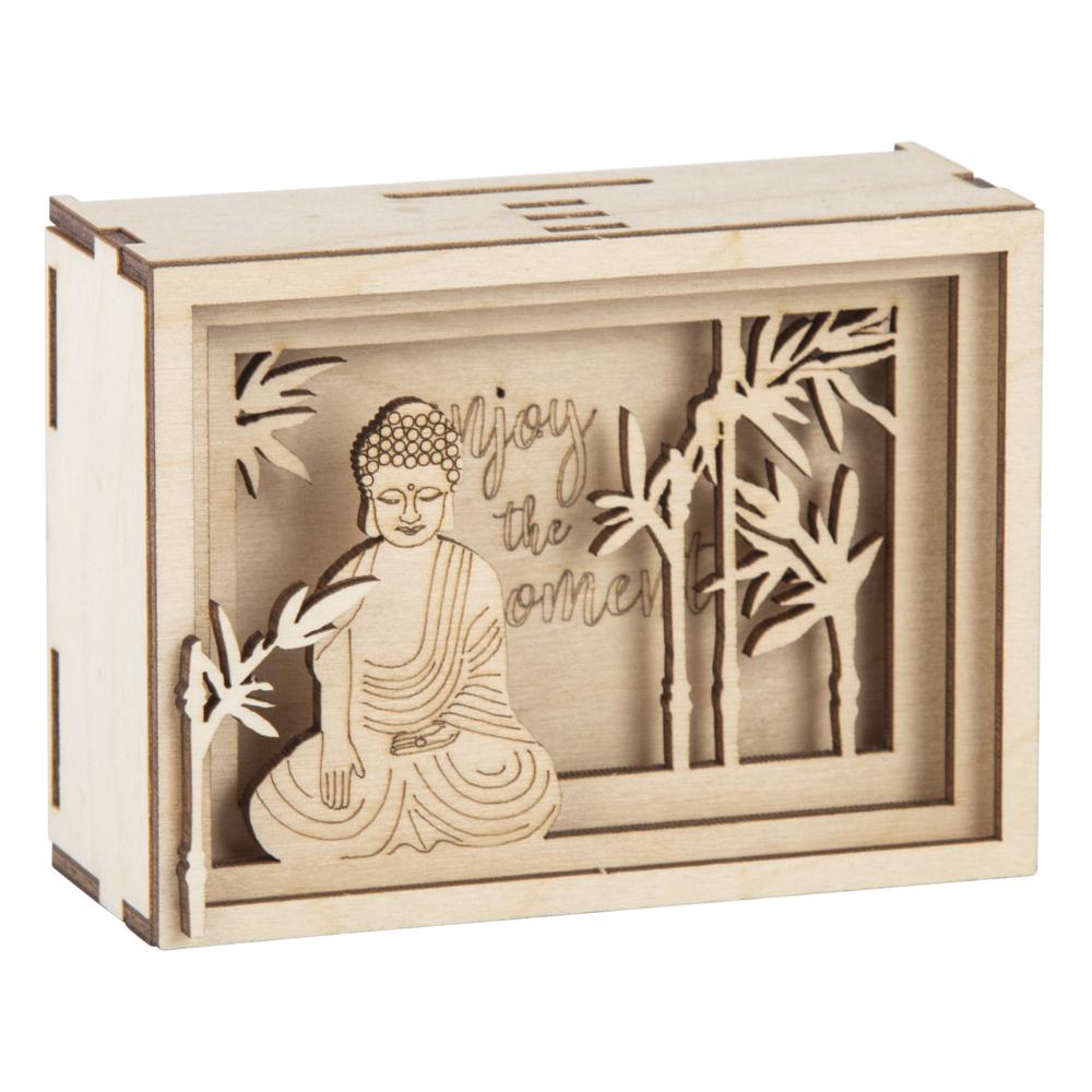 Holz 3D Geschenkbox Enjoy, FSCMixCred., 11,5x8,5x5cm, 11 tlg. Bausatz, Box 1Set, natur
