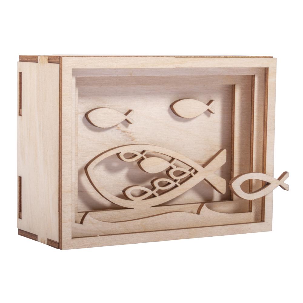 Holz 3D Geschenkbox Fisch,FSCMixCred, 11,5x8,5x5cm, 13 tlg. Bausatz, Box 1Set, natur
