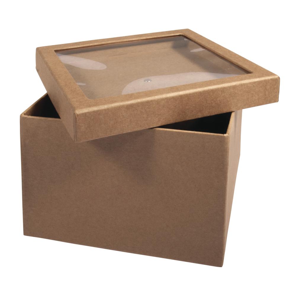 Pappm.Box m. Schütteldeckel,FSC Rec.100%, 15,5x15,5x11,5cm, kraft