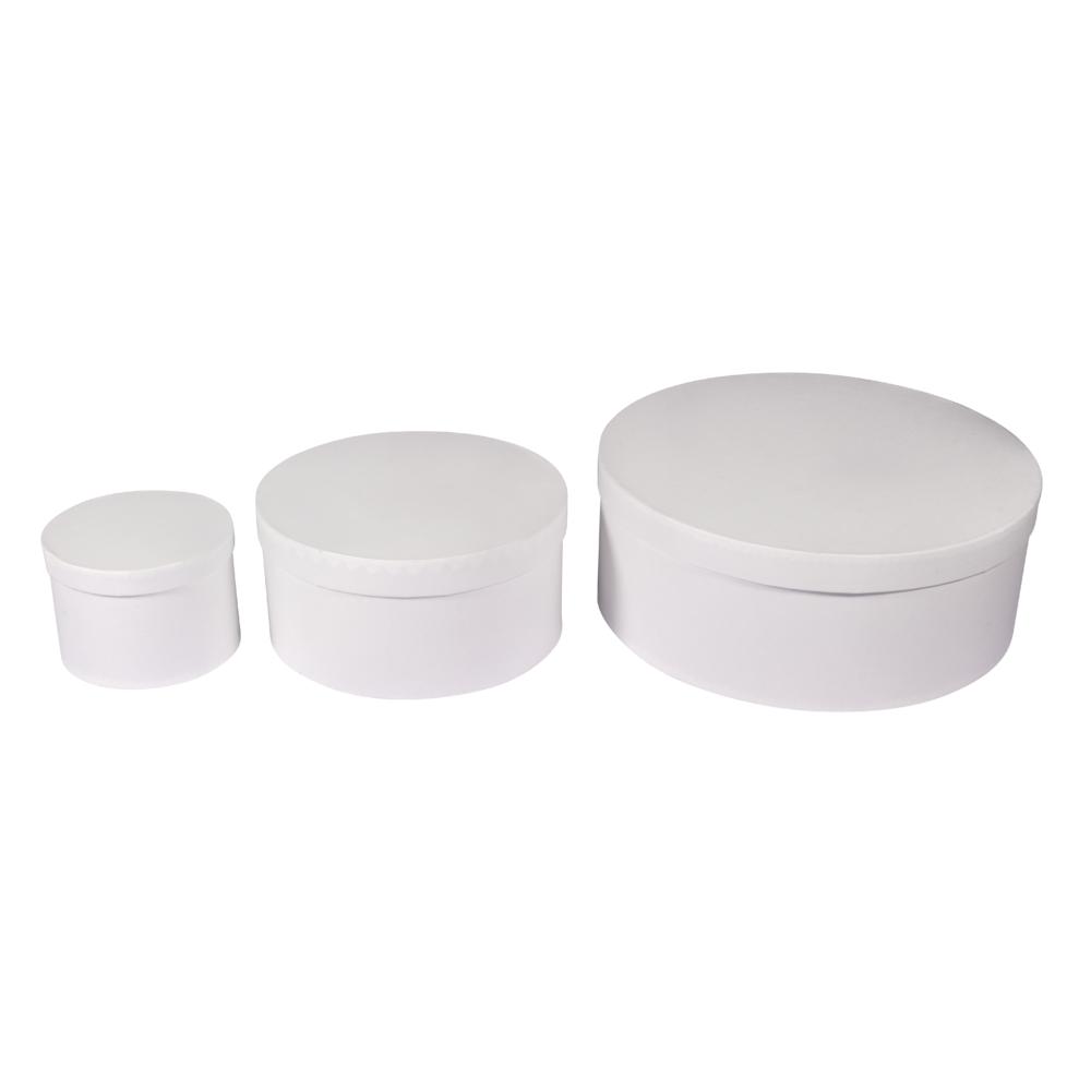 Pappm.Boxen Set, FSC Rec.100%, rund, 3 Größen, weiß