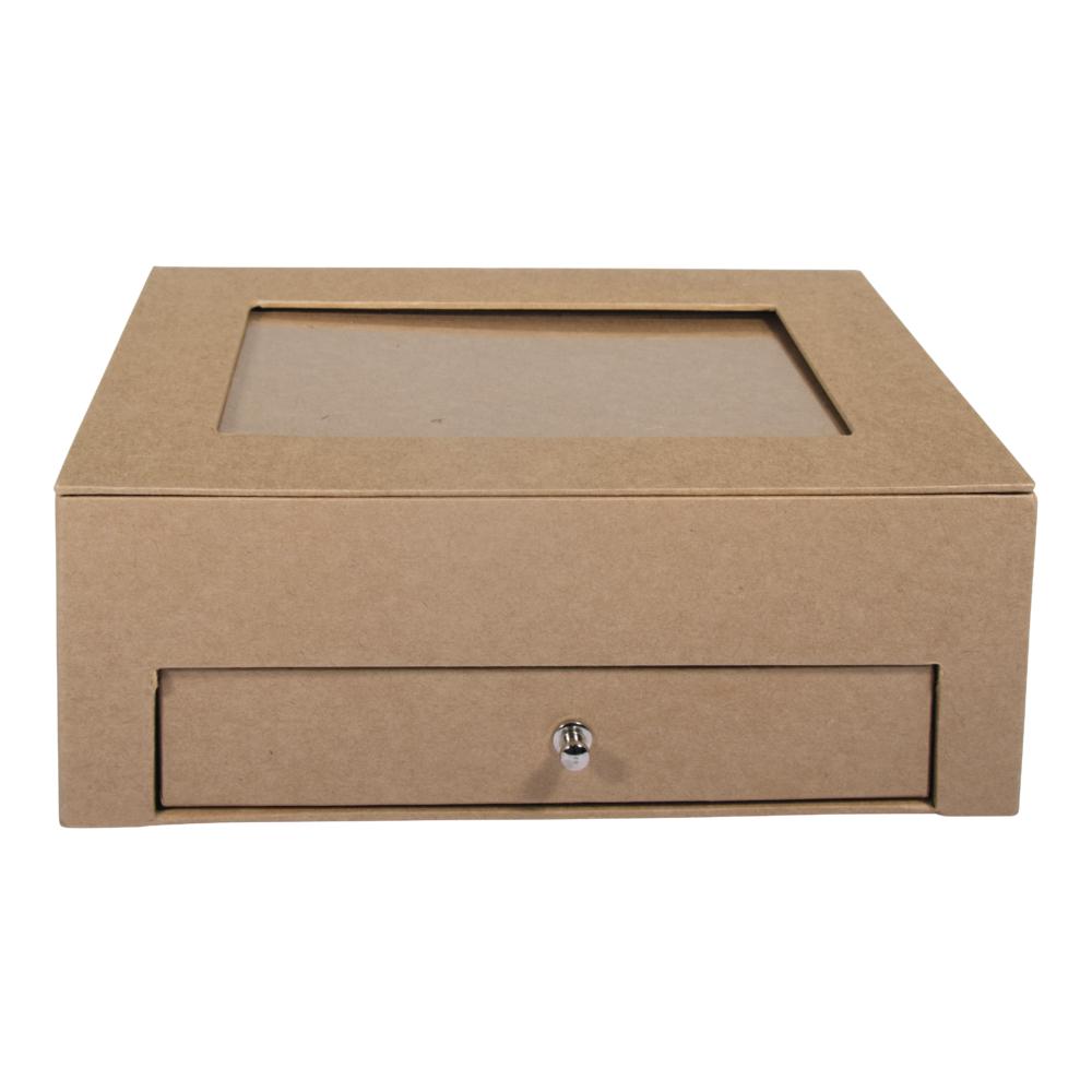 Pappm. Box m. Schublade,FSC Rec.100%, 20x15,3x7,5cm, kraft