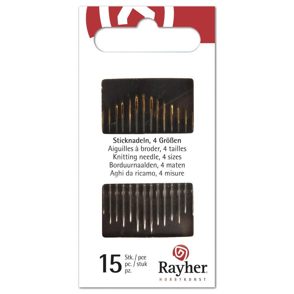 Nadeln zum Nähen und Sticken, 4 Größen, Blister 15Stück