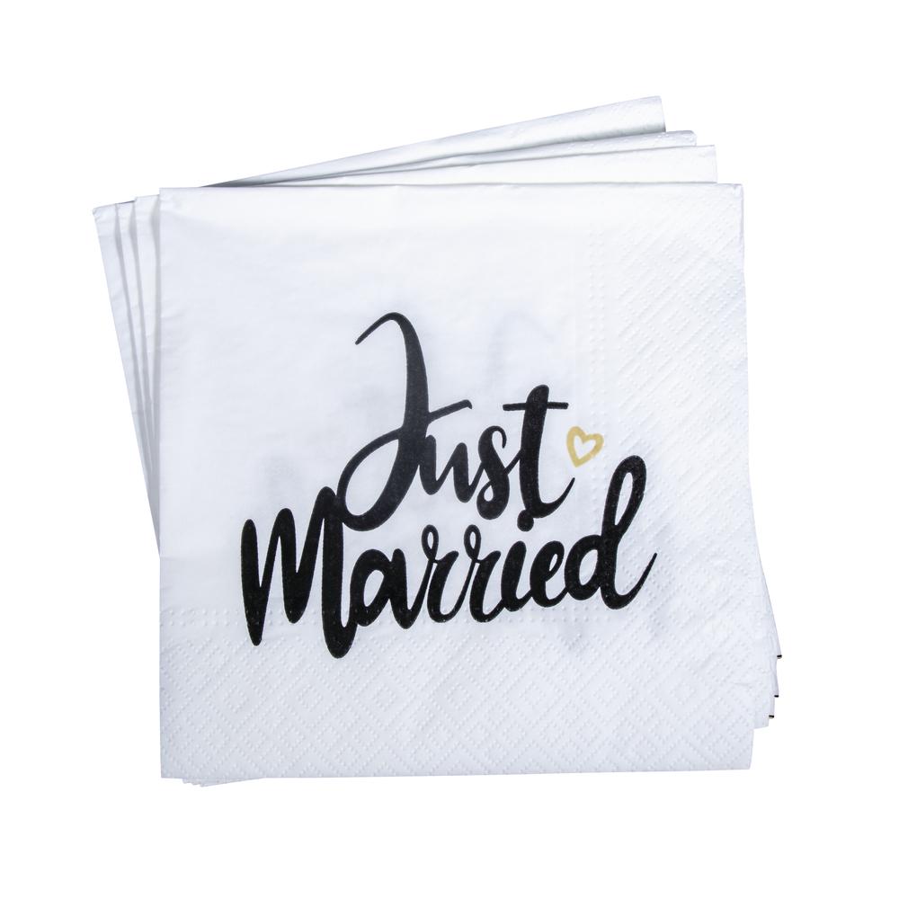 Serviette Just married, FSC Mix Credit, 33x33cm, 3-lagig, Btl 20Stück