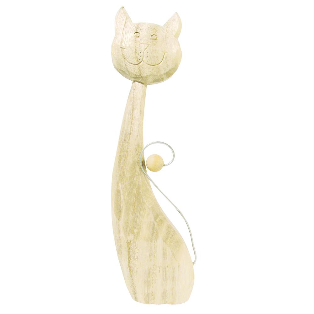 Holz-Katze Caroline, 18 cm